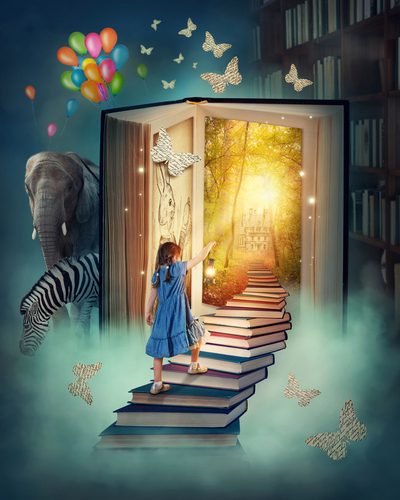 Illustration of girl walking into a book.