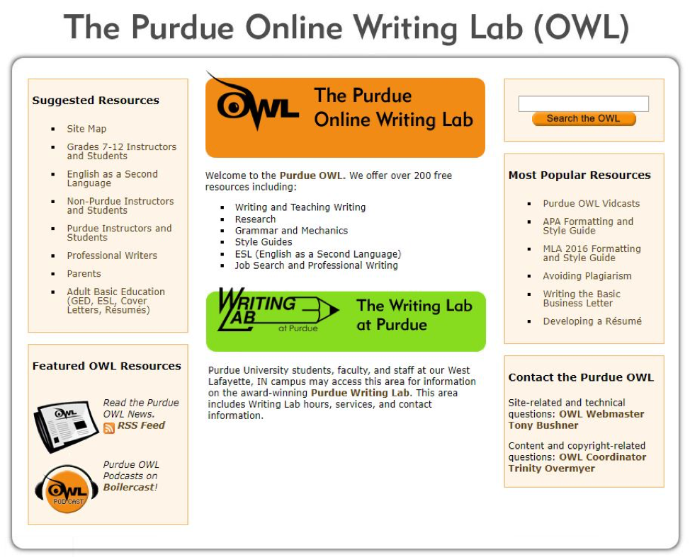Figure 3: The Purdue OWL has resources for writers of all levels