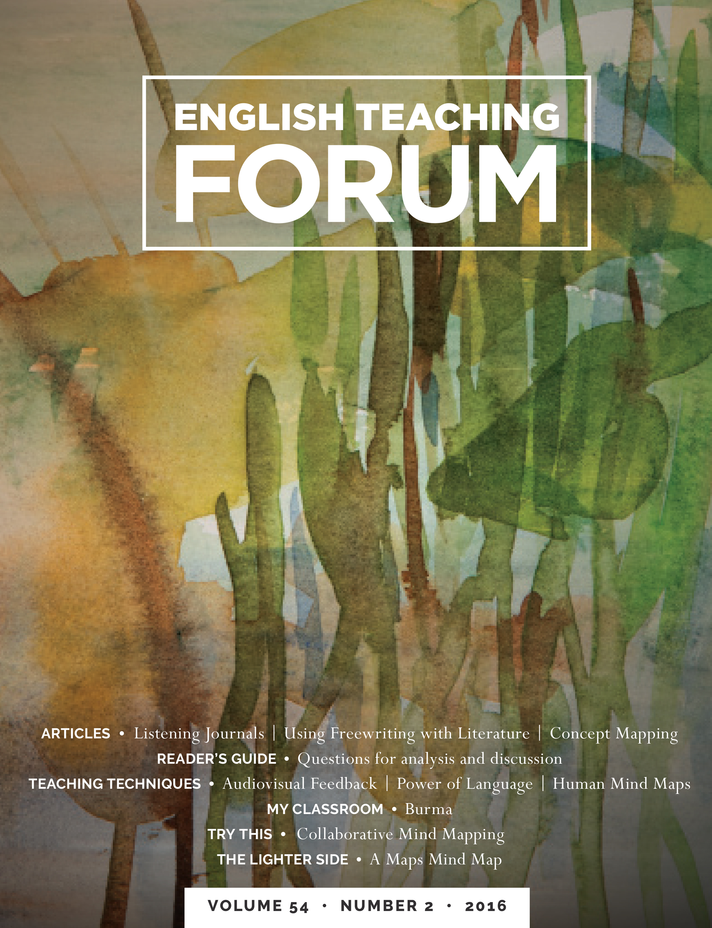 Forum cover with title and abstract watercolor design of cattails