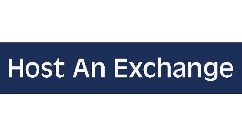 "Dark blue button with text that reads ""Host an Exchange"""