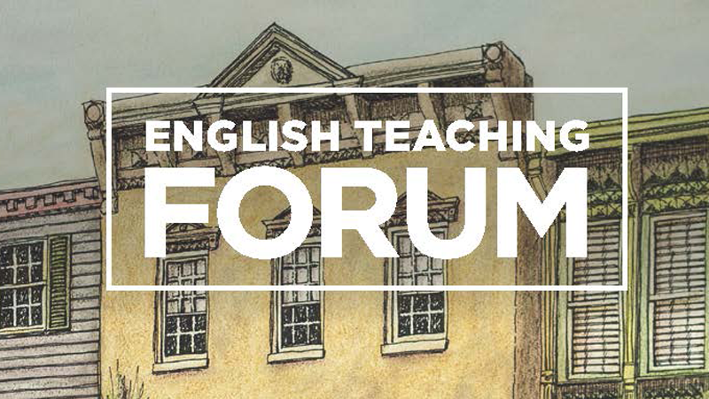"Exterior of a row of buildings in the background with the title ""English Teaching Forum"" in a box in the foreground"