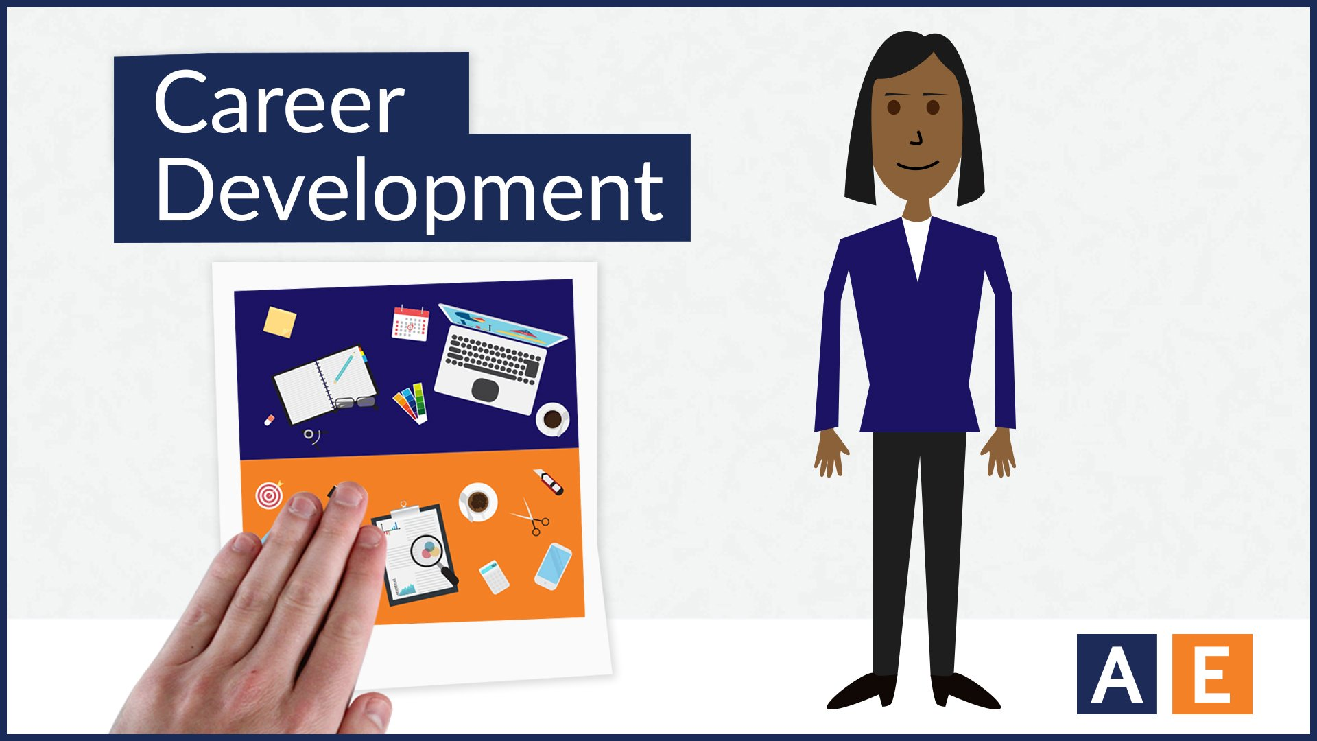 Cartoon graphic of woman next to the words Career Development and photo of a hand placing a desktop images under title