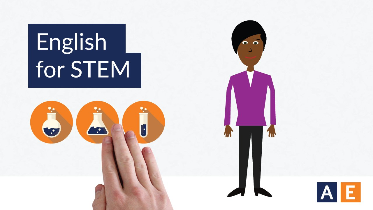 "Graphic of woman with title ""English for STEM"""