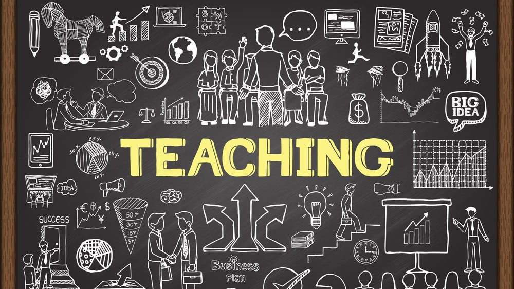 The word Teaching surrounded by drawings of classrooms, people, money, light bulbs, computers, etc.