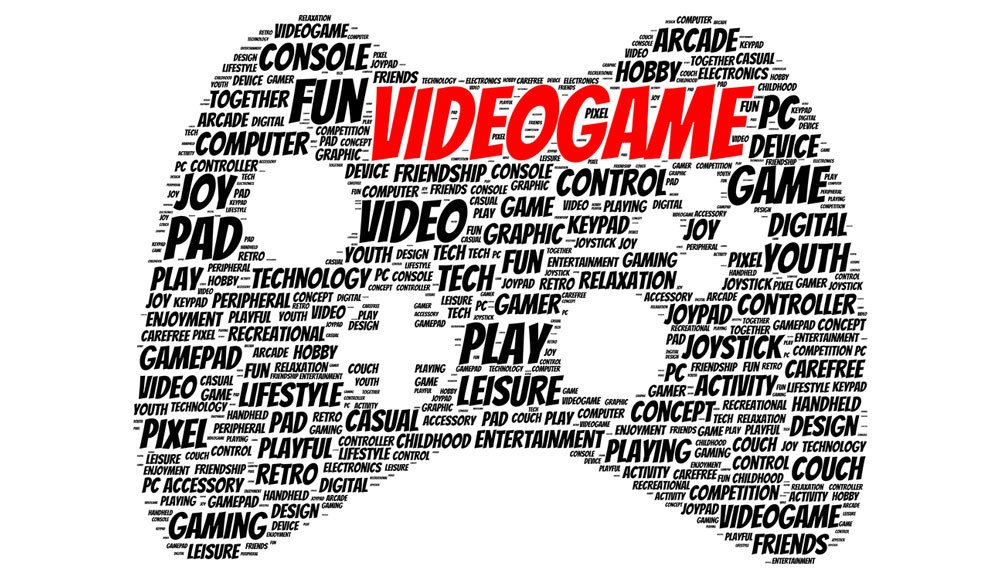 Graphic of a game controller created with gaming words