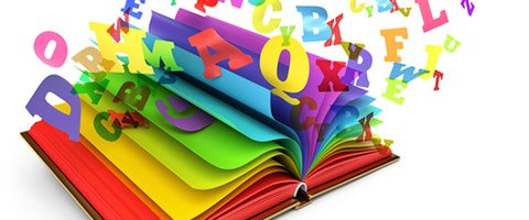 book with colorful letters jumping out