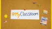 "Graphic of a cork board with ""#myclassroom"" posted on it"