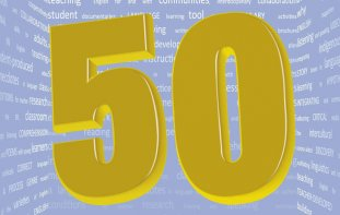 Cover graphic of the number 50 in big gold font