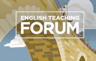 Cover graphic of partial bridge and people walking at top with title text that reads: English Teaching Forum