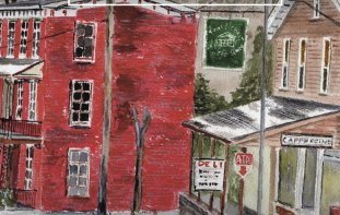 Painting of small town USA