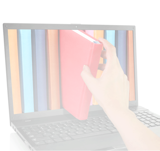 A hand appears to be grabbing a book from the screen of a laptop with a picture of books on it