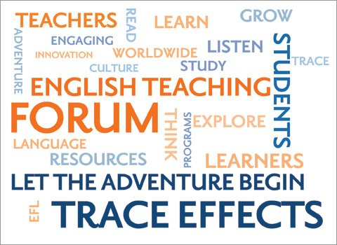 Wordle banner with text: Teachers, Engaging, Learn, Read, English Teaching Forum, Students, Listen, Let the Adventure Begin, Trace Effects, Resources
