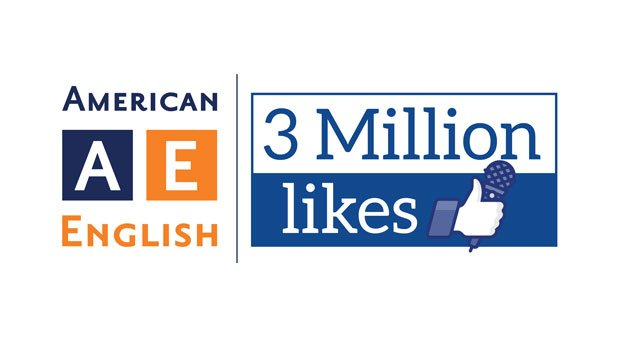 Graphic logo for American English next to 3 Million Likes with Facebook thumb image