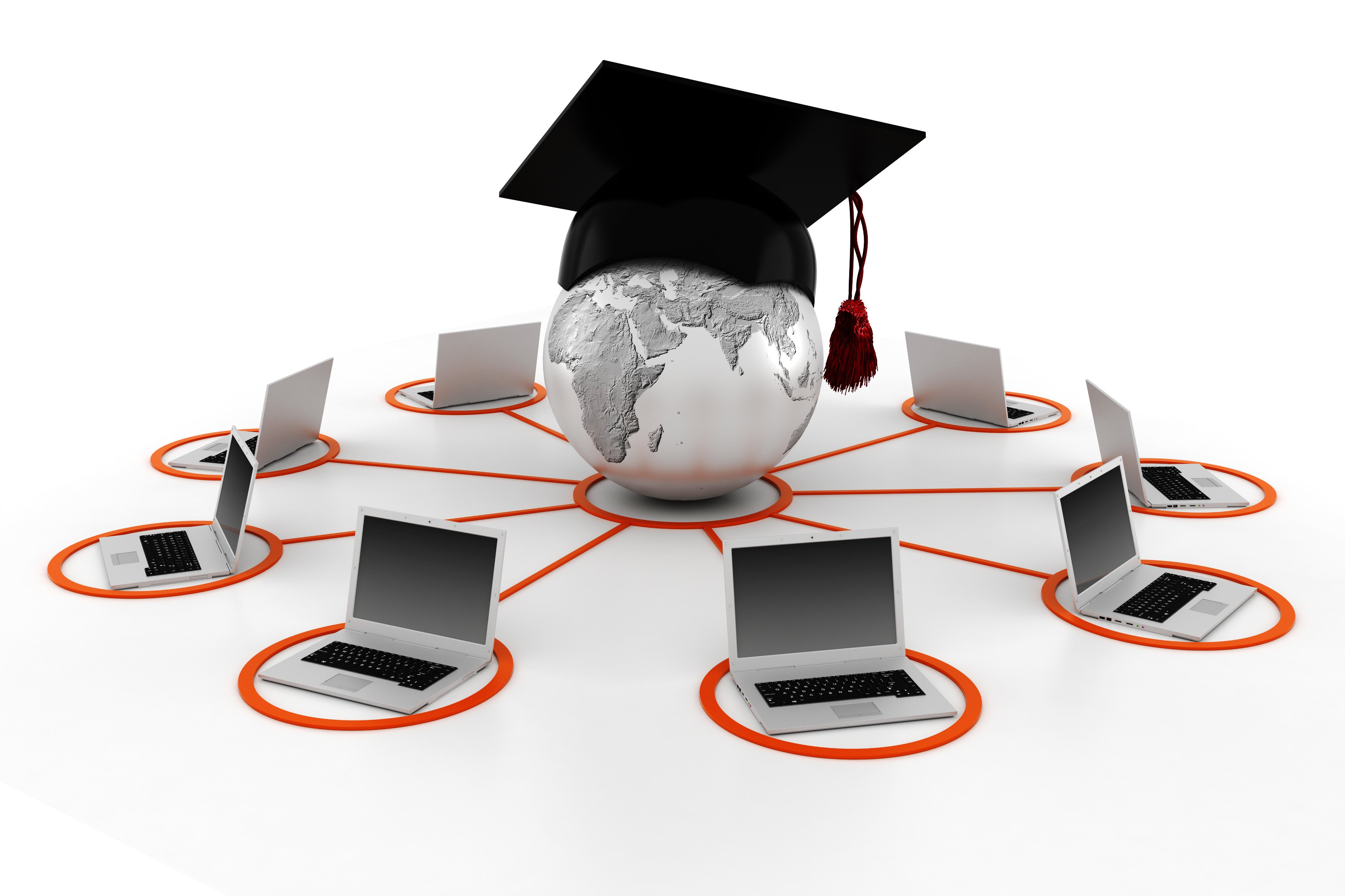 Graphic of graduation hat on top of a world globe that's connecting to multiple computers