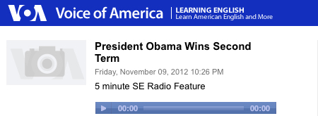 Voice of America: Obama Wins Second Term. Play Button